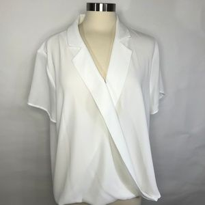 Vince Camuto Notch Collar Wrap Front Blouse White